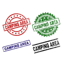 scratched textured camping area seal stamps vector image