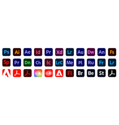 Set adobe products icons vector