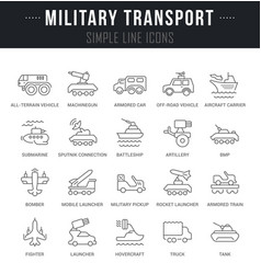 Set line icons military transport vector