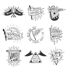 Set of adventure and outdoors flag emblems retro vector