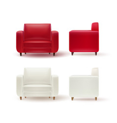 set of armchairs vector image vector image