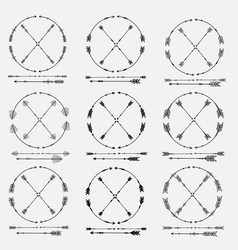 Set of arrows and round frames vector