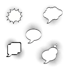 set of cartooncomic speech bubbles empty dialog vector image