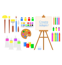 set of tools and materials for vector image