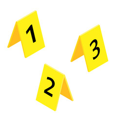 Set three yellow marker crime scene with vector
