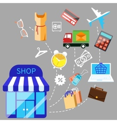 Shoping and different goods vector