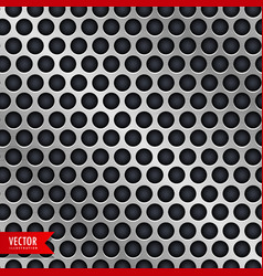 Silver metal background with circle holes vector