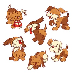 six cartoon puppies vector image