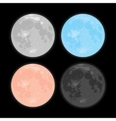 Starry night sky Stars Moon Set vector