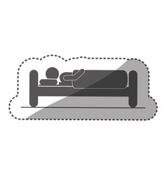 sticker monochrome silhouette pictogram person in vector image