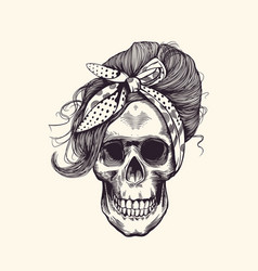 Stylish human skull with fashionable 1960s vector
