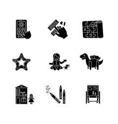 toddler toys black glyph icons set on white space vector image