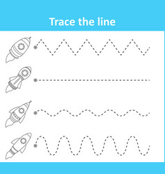 Trace line worksheet for preschool kids with rocke vector