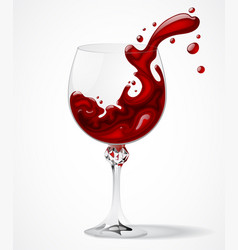 Transparent glass with splashed red wine on white vector