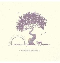tree at dawn vector image