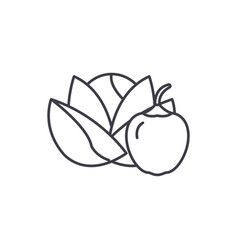 vegetables and fruits line icon concept vector image