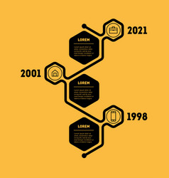 Vertical timeline or infographic with 3 sectors vector