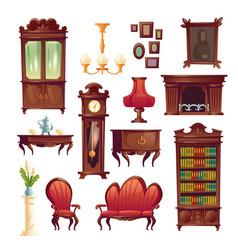 Victorian living room stuff old classic furniture vector