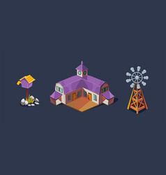 Village farm house and windmill mobile game user vector