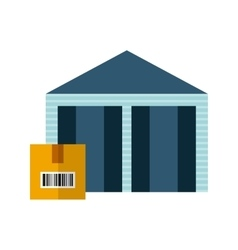 Warehouse with box icon vector