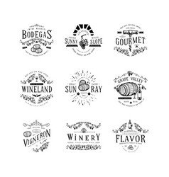 wine badge craft retro vintage design vector image