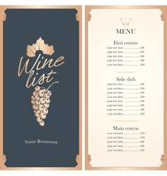 Wine list with a bunch of grapes vector