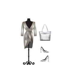 woman silver outfit set dress handbag and shoes vector image