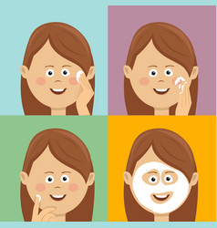 woman step by step improves her skin condition vector image