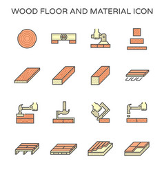 Wood floor material and construction tool icon vector