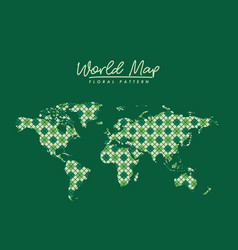 World map floral pattern with diamond forms on vector