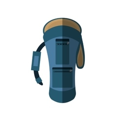 Blue backpack hike traveler front view shadow vector