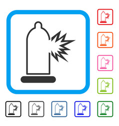 condom damage framed icon vector image vector image