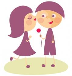 girl kissing boy vector image vector image
