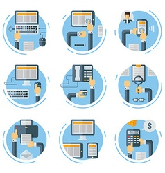 Set of Flat Style Business Concept Human Hands vector image