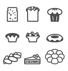 set of icons depicting desserts realistic style vector image vector image