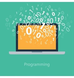 User programming coding binary code on notebook vector image