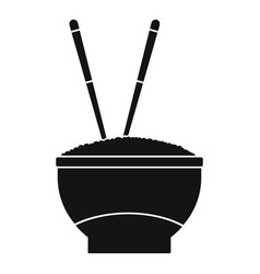 Bowl of rice with chopsticks icon simple style vector