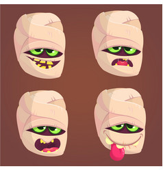cartoon mummy icons set vector image