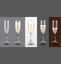 champagne glass set on different backgrounds vector image