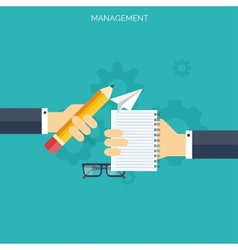 Flat management concept background Teamwork vector image vector image