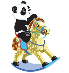panda riding a rocking horse vector image vector image