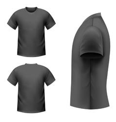Realistic black t-shirt vector image vector image