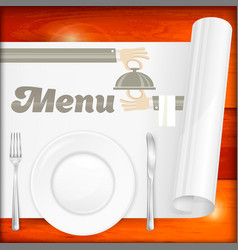 served table with menu vector image vector image