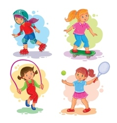 Set icons of girls playing tennis jumping rope vector image vector image