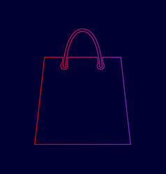 shopping bag line icon with vector image