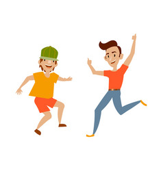 Teenagers in casual clothing funny dances vector