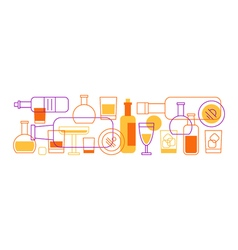 Alcohol drinks bottles and glasses background vector image vector image