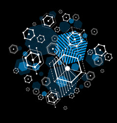 Bauhaus abstract blue background made with grid vector
