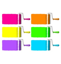colorful paint rollers vector image vector image