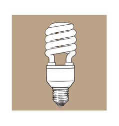 fluorescent energy saving spiral light bulb on vector image